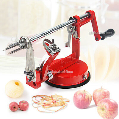 3 in 1 Apple Peeler Slinky Machine Fruit Cutter Slicer Corer Red Kitchen Tool AU
