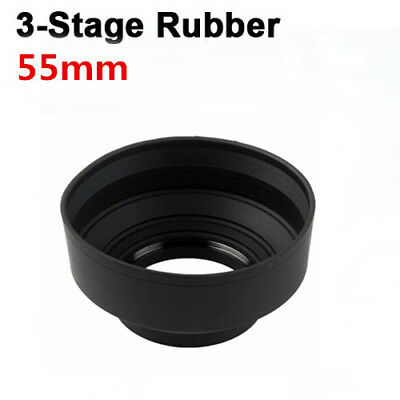 55mm 3-in-1 3-Stage Collapsible Rubber Lens Hood for All digital camera
