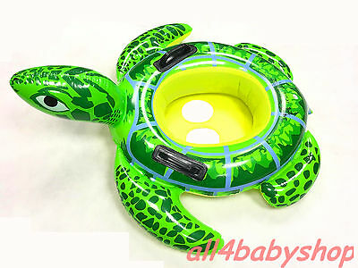 Baby Kids Swimming Water Lilo Toy Seat Ring Large GREEN TURTLE 2-5Y NEW