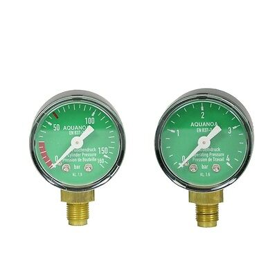 "AQUA-NOA CO2 Manometer-Set 0-4 & 0-160 bar f. Druckminderer Gewinde 1/8"" Neu&Ovp"
