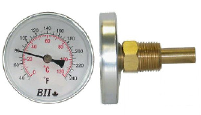 """2-1/2"""" Bi-Metal Thermometer (Includes thermowell)"""