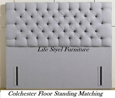 "Chenille Fabric Floor Standing Colchester Headboard 50"" Tall Matching Buttons"