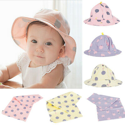 BABY Kids Toddler Bucket Hat/Sun Hats 44-49cm Head Neck Scarves Saliva bibs Towl