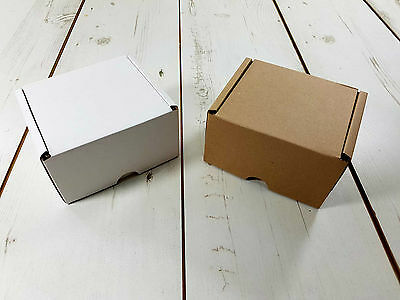"Postal Cardboard Boxes White or Brown 5""x4""x3"" Small Mailing Shipping Cartons"