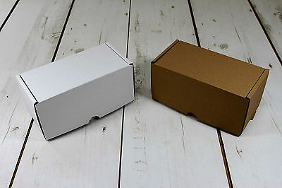 "Postal Cardboard Boxes White or Brown 8"" x 4"" x 4"" Small Mailing Shipping Carton"