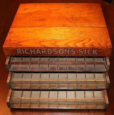 Antique 3 Drawer ~ Richardson's Silk Spool Thread Display Storage Cabinet
