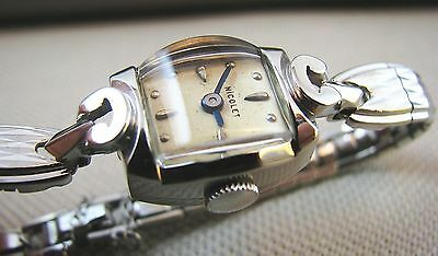 Vintage 1960 Nicolet Swiss Solid 14k White Gold Ladies Cocktail Dress Watch 17J
