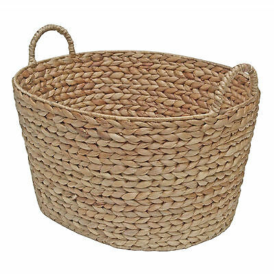 Wicker Oval Storage Basket Water Hyacinth Container - Bedroom, Kitchen, Display