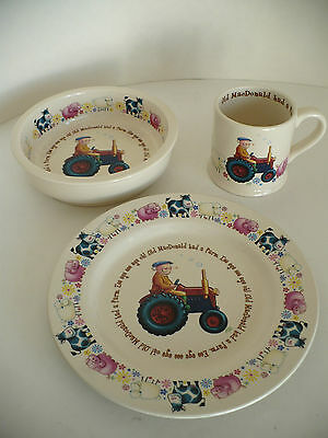 Anderton Pottery Old MacDonald Child's Porcelain Plate Bowl & Cup Set. England