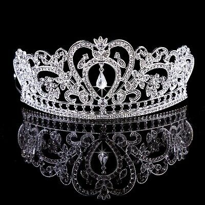 Bridal Bridesmaid Diamante Crystal Tiara Wedding Prom Pageant Crown Hair Jewelry