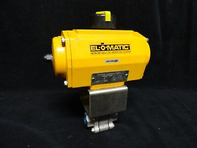 "(NEW) * EL-O-MATIC Pneumatic Actuator ES0040 with HABONIM 1/2"" SS BALL VALVE"