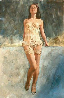 """WILLIAM OXER ORIGINAL CANVAS """"The Seductress"""" nudes girl woman nude PAINTING"""