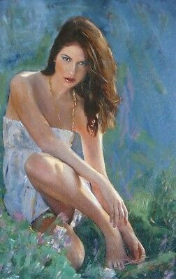SUPERB WILLIAM OXER ORIGINAL CANVAS The Garden Retreat girl woman lady PAINTING