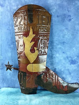 License Plate Western Boot Art Wall Hanging