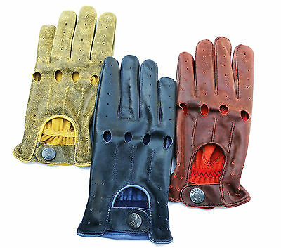 Top Quality Real Soft Nappa Cracker Leather Mens Fashion Driving Gloves