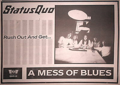 "STATUS QUO - A MESS OF BLUES, UK 11"" x 8"" ADVERT/AD PRINT 1983"