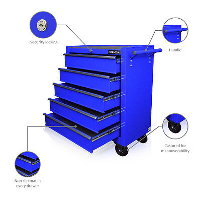 130 Us Pro Blue Tools Affordable Steel Chest Tool Box Roller Cabinet 5 Drawers