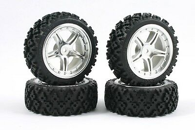Fastrax RC 5 Spoke Chrome Wheels & Pre-Mounted Rally Tyres x4 FAST0074C