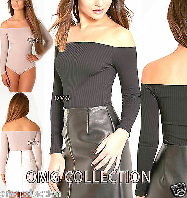 Womens New Ladies RIBBED OFF THE SHOULDER STRETCH BARDOT BODYSUIT Top Size 8-16
