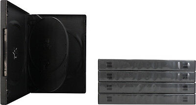 (5) DV4R22BK 4 Disc Capacity DVD Replacement Cases Black Quad Chubby 22mm Boxes