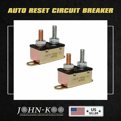 50A 12v Auto Automatic Fuse Reset Circuit Breaker Copper Stud Bolt Type 50 Amp