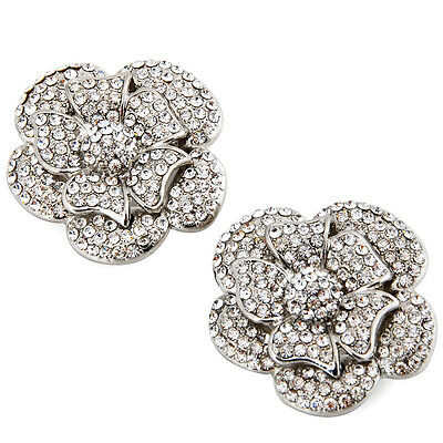 Elegant Park 2 Pieces Rose Flower Rhinestone Shoe Clips For Fashion Bridal Shoes