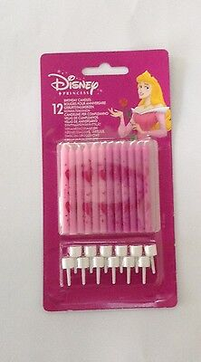 12 Pink Disney princess birthday cake candles with candle  holders free postage