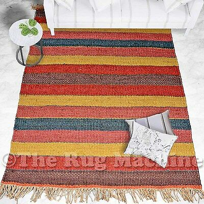 OXFORD COLOURFUL NATURAL JUTE KNOTTED FLATWEAVE MODERN FLOOR RUG 150x220cm **NEW