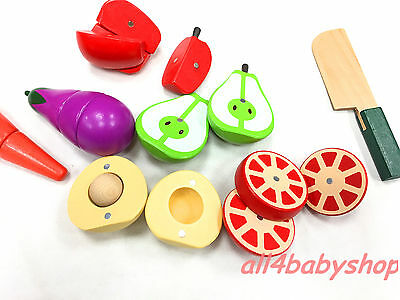 18pcs Large WOODEN Vegetable & Fruit Cutting and Play Activity Set Children Kids