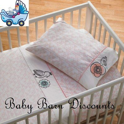 NEW Living Textiles - 3 Pce Cot Sheet Set - Sparrow from Baby Barn Discounts