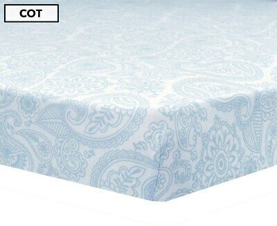 Living Textiles - Cot Fitted Sheet - Jersey/Blue Paisley