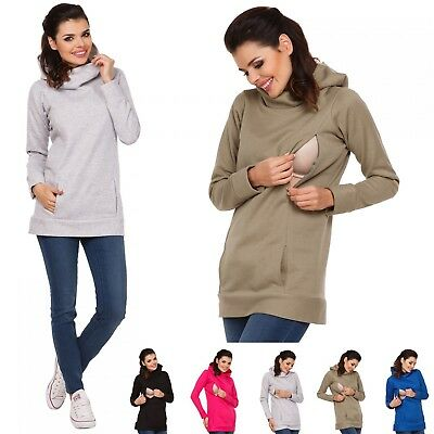 Zeta Ville - Women's Maternity Nursing Hooded Sweatshirt - Zip Cut-outs - 053c
