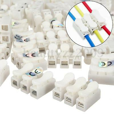 100Pcs 10A 380V 3 Pin Push Quick White Wire Cable Connector Wiring Terminal