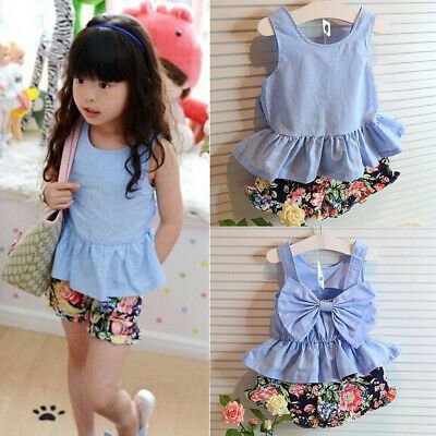 Toddler Kids Baby Girl Clothes Bowknot T-shirt Tops Dress+Pants 2PCS Outfits Set
