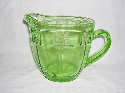 "JEANNETTE GLASS ""DORIC""...GREEN DEPRESSION PITCHER 32 ounce...5-1/2"""