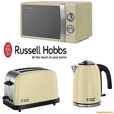 Cream Russell Hobbs Stainless Steel Microwave, Colours Kettle & Toaster Set NEW