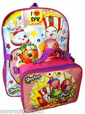 "Shopkins 16"" Large Backpack School Bag with Detachable Lunch Box Bag-3339"