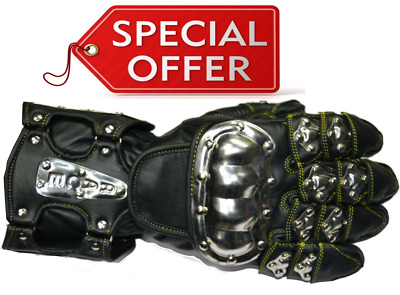 RKSports Summer Stainless Steel Knuckle Leather Motorcycle Motorbike Gloves
