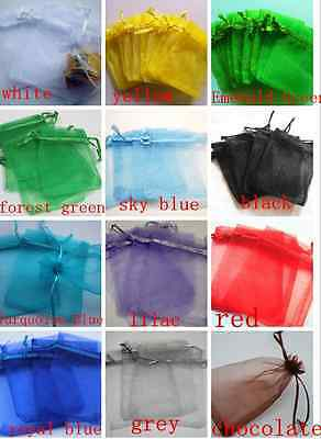 100 - 7x9cm Premium ORGANZA Wedding Favour GIFT BAGS Jewellery Pouches Party