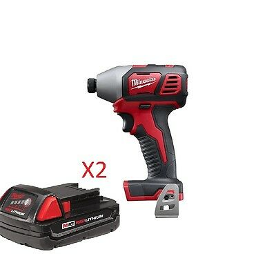 New Milwaukee M18 1/4 Hex Impact, 2656-20 With 2 batteries