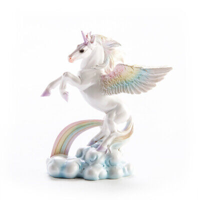 Unicorn with Rainbow Wings Small Figurine Statue Fantasy