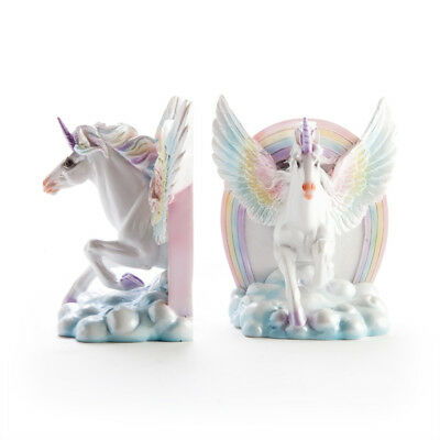 Flying Unicorn Horse Bookends with Rainbow, Great Girls Childrens Gift Idea!