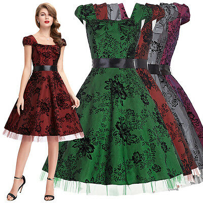 Womens Vintage Retro Floral Pinup 50s 60s Housewife Cocktail Party Swing Dress