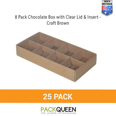 25 x 8 Pack Chocolate & Favor Gift Box with Clear Lid & Insert - Craft Brown