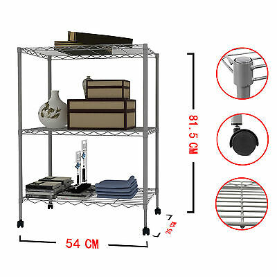 1/2/3/4 PCS 3 Tier Layer Steel Wire Metal Shelf Adjustable Shelving Rack GREY