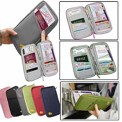 Secure Zipped Travel Pouch Wallet Document Organiser Passport Ticket Holder