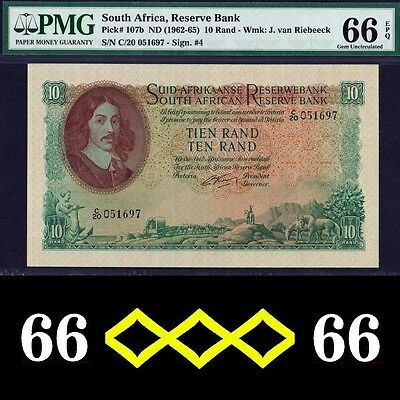 SOUTH AFRICA - FINEST & ONLY 1 - P#107b 10 RAND 1952-5 TOP PMG UNC 66
