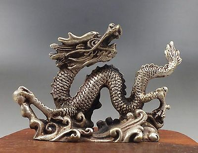 SUPERB COLLECTIBLES TIBET SILVER CARVING Dragon STATUE AMULET ZA104