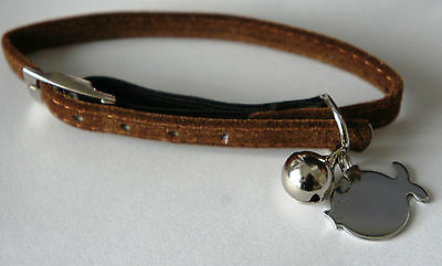 Soft Safety Cat Collar With Bell And Engraved Id Tag Armitage Brown Velvet