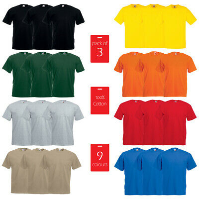 3 PACK FRUIT OF THE LOOM Plain T-Shirts Unisex Men Women T Shirt